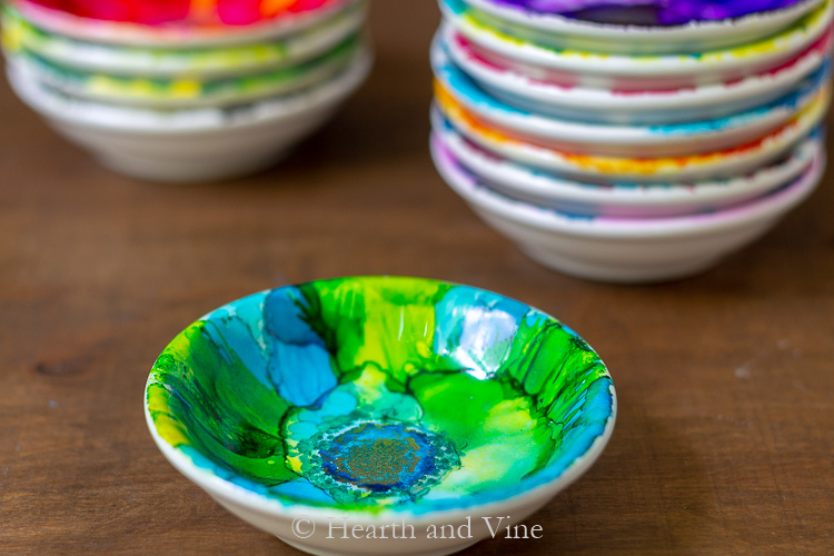 Blue and green alcohol ink dish