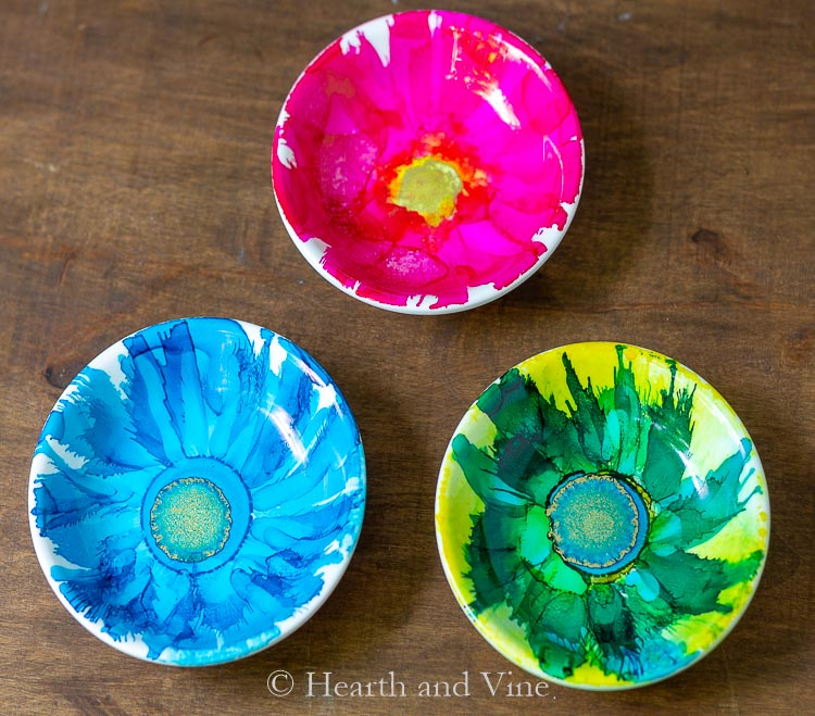 Trio of alcohol ink flower dishes