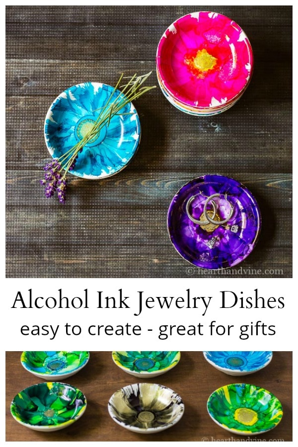Alcohol ink jewelry dish collage
