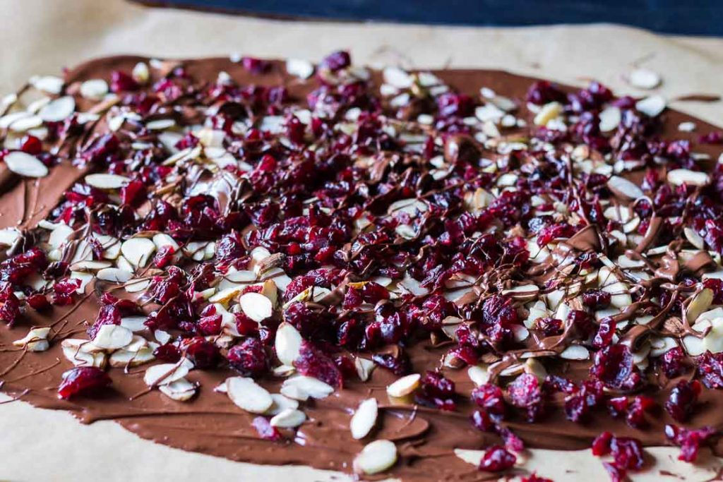 Chocolate bark with almonds and dried cranberries.