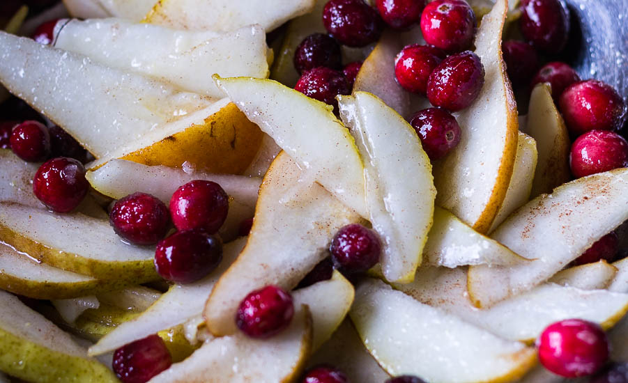 Sugared cranberries and pear slices
