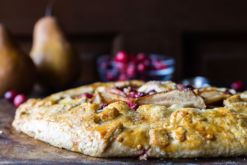 Cranberry pear galette crust edge