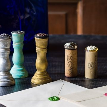 DIY wax seal stamps can be made with sentimental or heirloom items you have kept from a special occasion, or those handed down from loved ones.