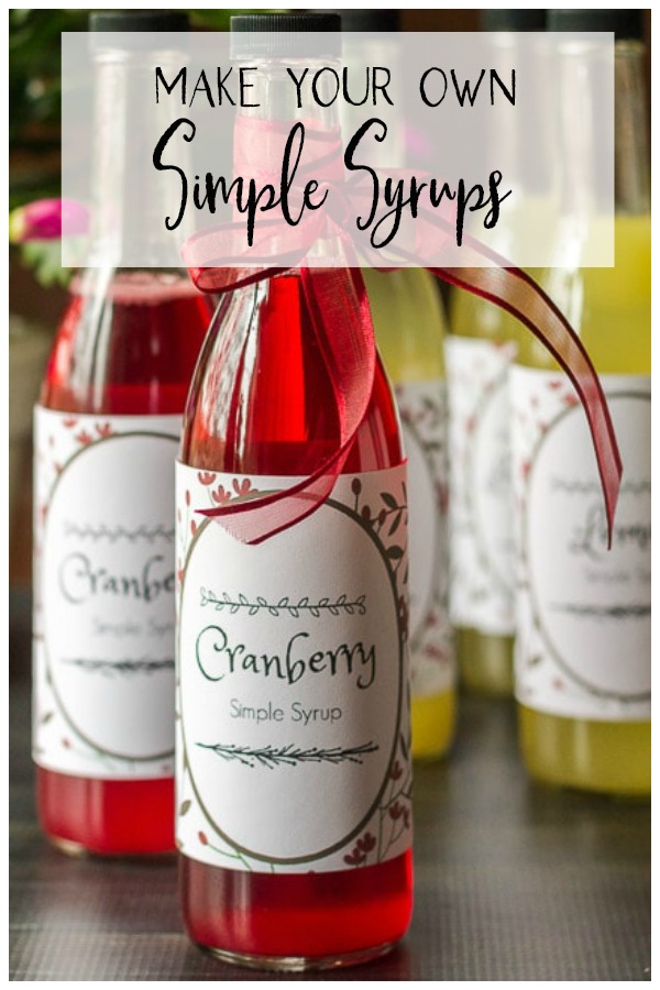Cranberry simple syrup bottle