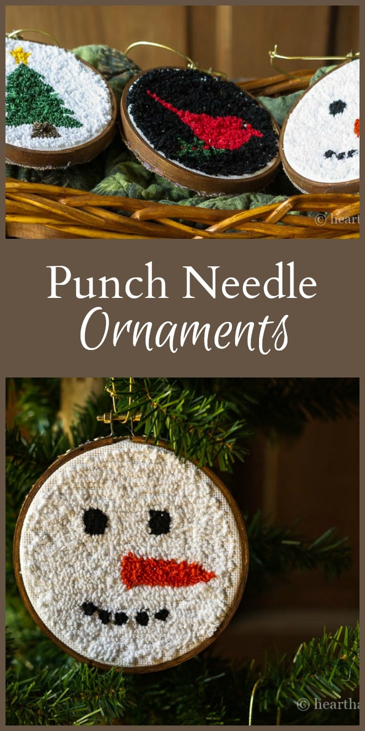 These punch ornaments are a great way to get started with punch needlework using a basic holiday image that you can hang right on the tree.