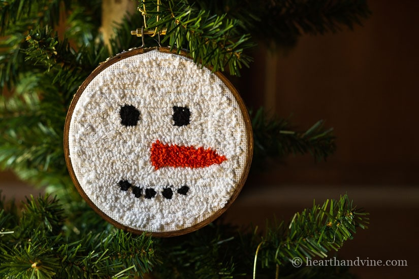 Punch ornament snowman face