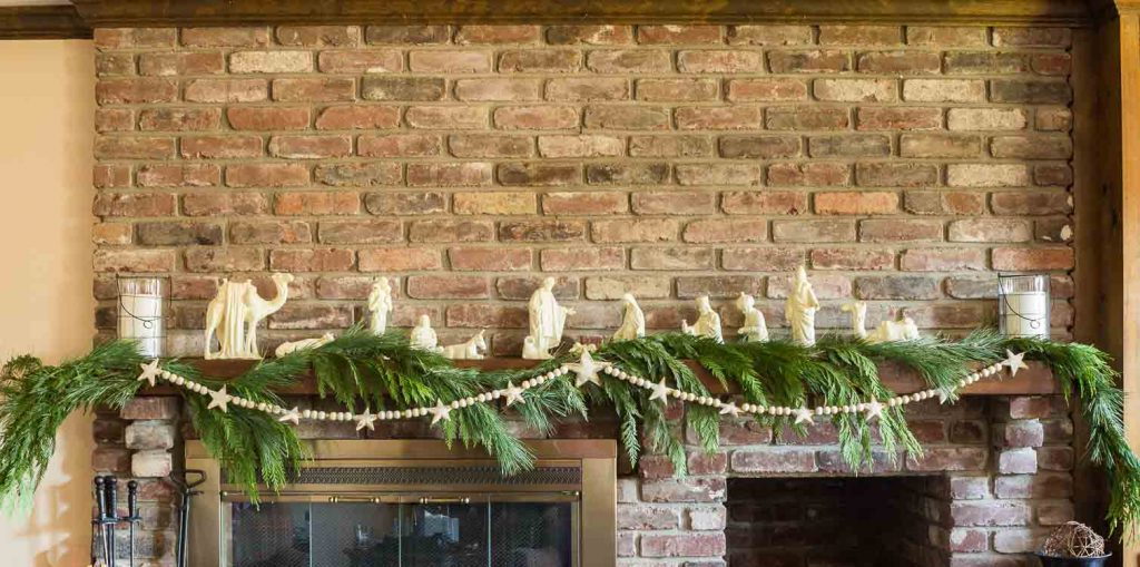 Salt dough Christmas garland on mantel
