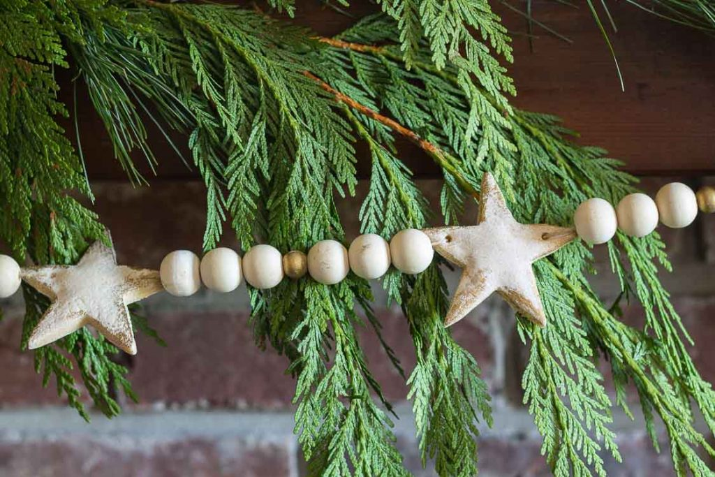 Salt dough Christmas garland with cedar