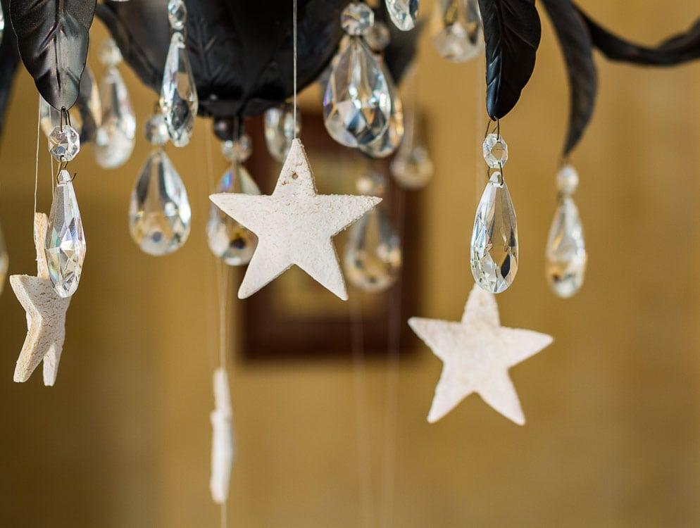 Salt dough starts on chandelier