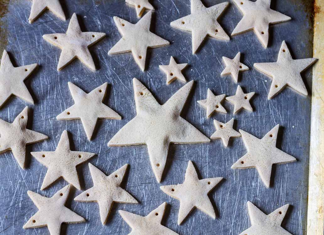 Salt dough Christmas garland stars