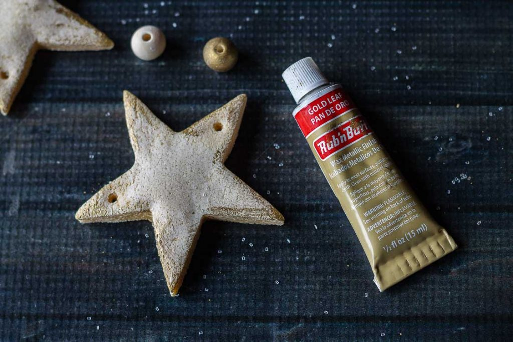 Salt dough stars gilded with rub n buff wax