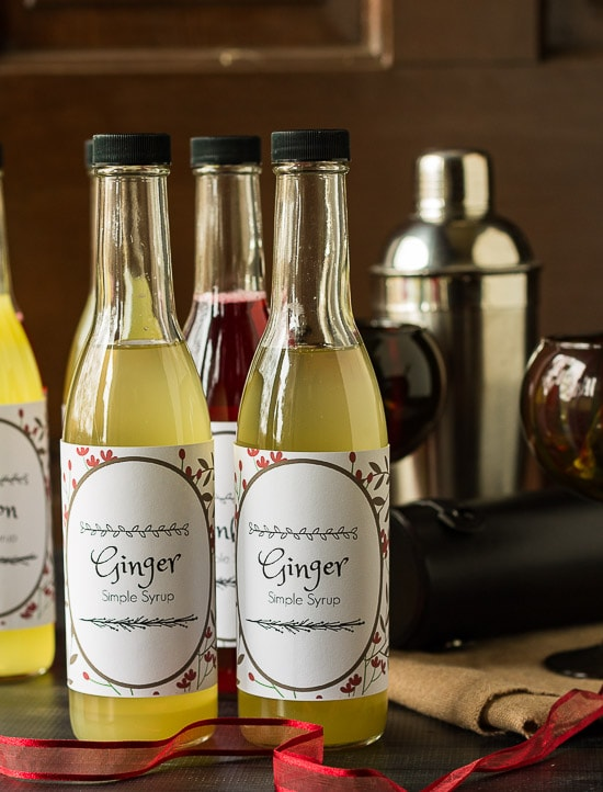Ginger Simple syrup bottles.