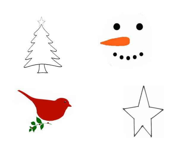 Templates for the punch ornametns. Tree, snowman, bird and star.