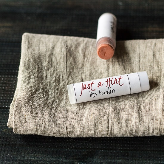 Tinted lip balm homemade gift.