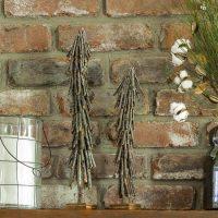 Twig Christmas trees on mantel