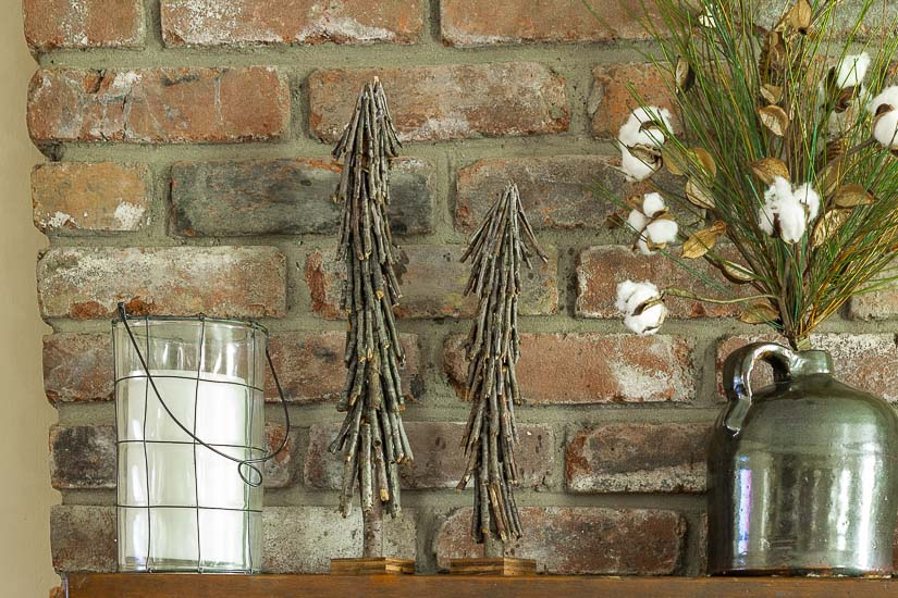 Twig Christmas trees on mantel
