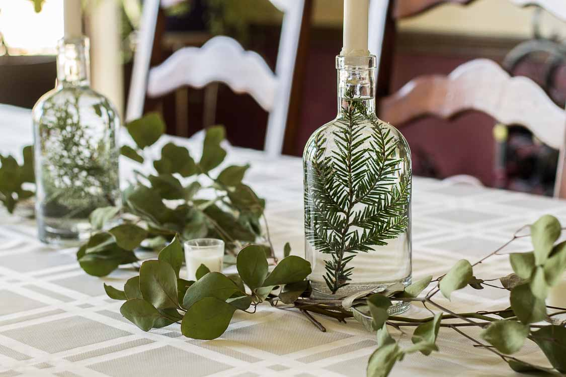 Christmas Home Tour 2017 dining table bottles.