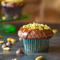 Chocolate Cupcakes with Chocolate Ganache Frosting and Pistachios