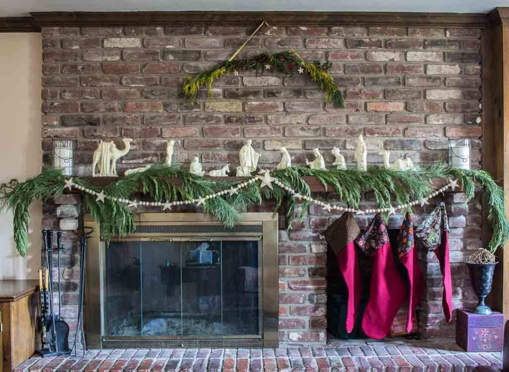 Christmas Home Tour 2017 family room mantel.