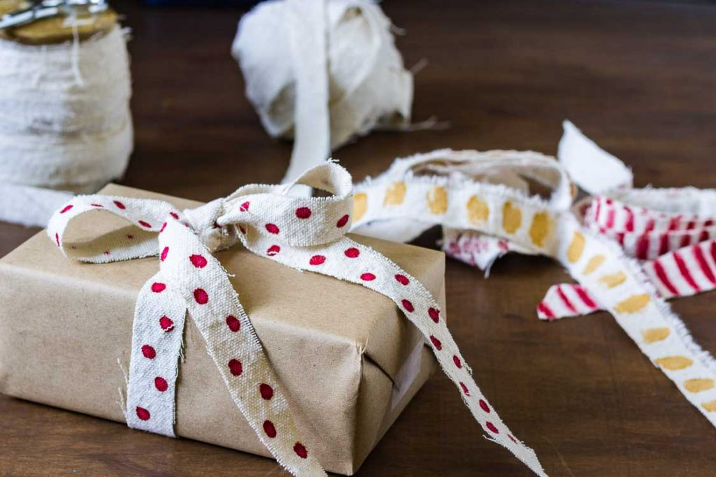 DIY ribbon decorated on package.