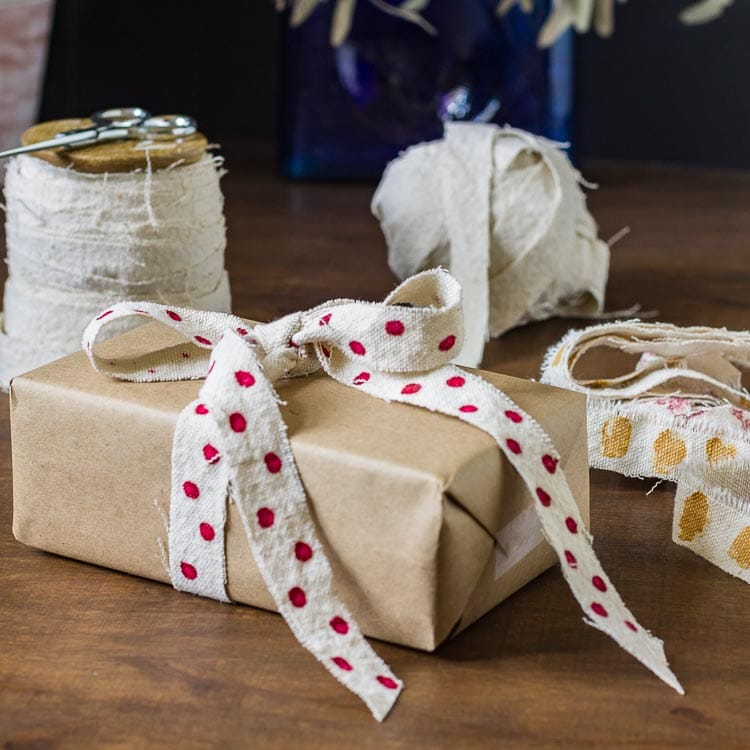 This DIY ribbon technique using drop cloth fabric creates one continuous strip of fabric, which you can use as is, or embellish as you wish.