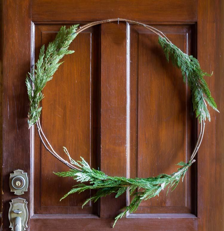 Natural Christmas wreath cedar to cover wires.