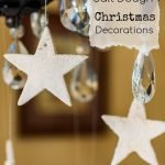 Salt dough stars hanging from chandelier