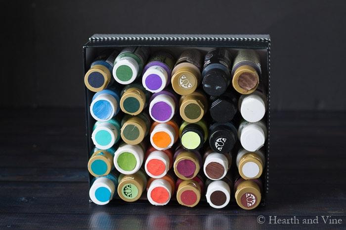 Organization hacks craft paint colored lids