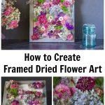 Dried flowers on cavas with metal grid