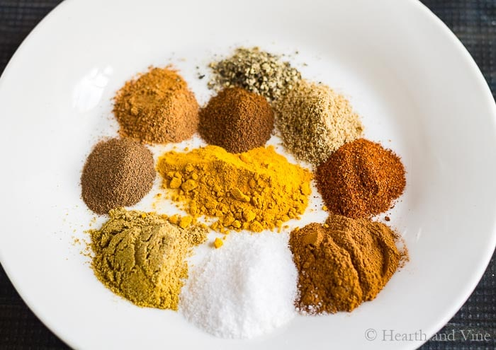 Ten spices for moroccan stew.