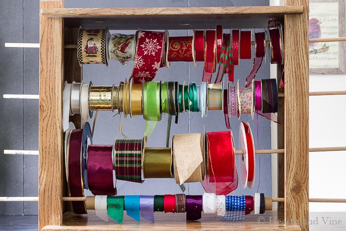Organizing ribbon with wooden dowel rods.