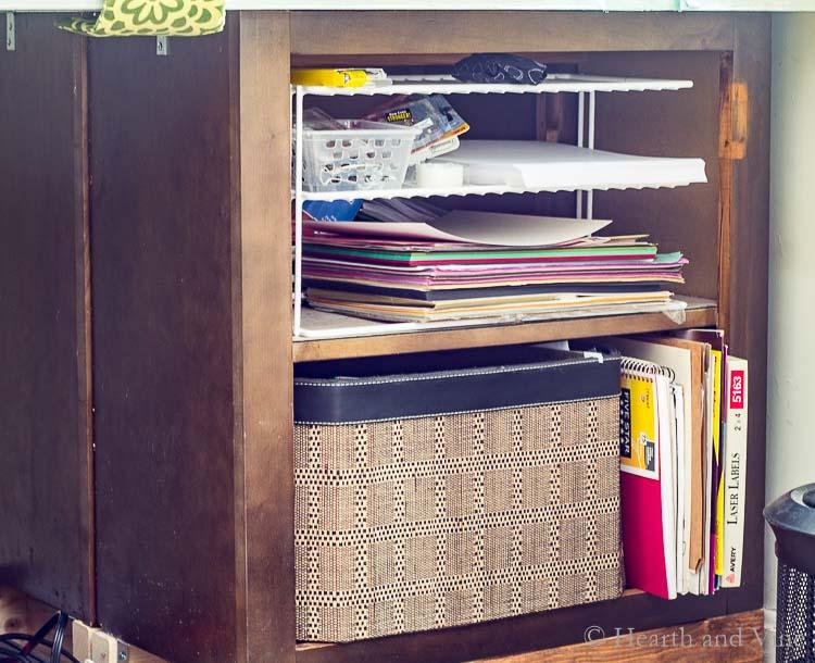 Organizing ideas using riser shelves.