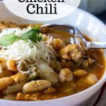 Close up look at a bowl of chicken chili