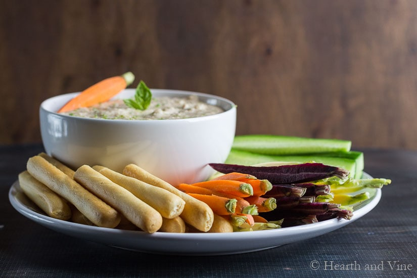 Thai bean dip with cucumbers and mini carrots.