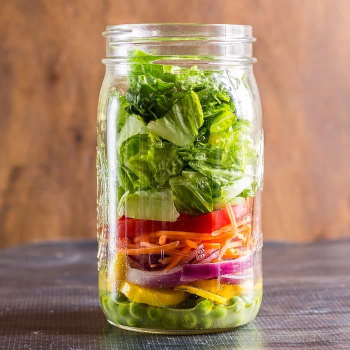 Rainbow mason jar salad.