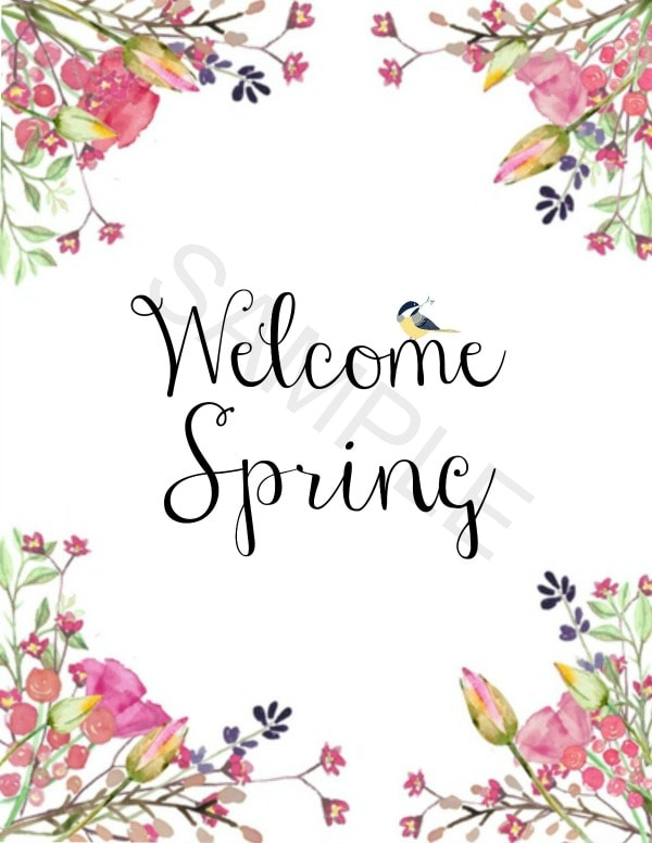 Sample welcome spring printables