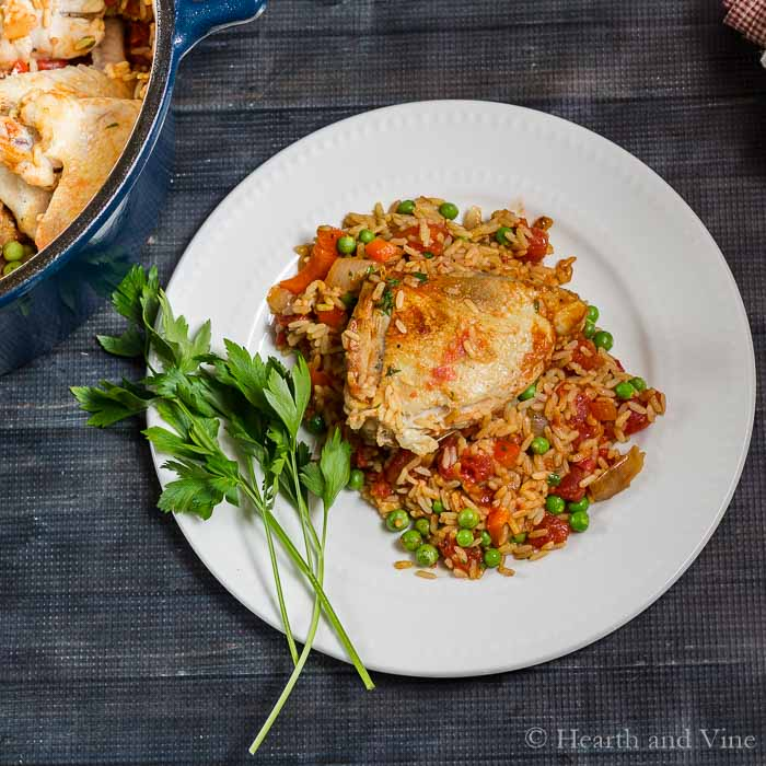 Plated arroz con pollo.