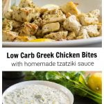 Marinated Greek chicken bites over a bowl of Tzatziki sauce.
