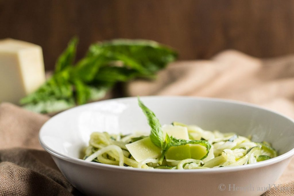 Bowl of lemon Parmesan zoodles