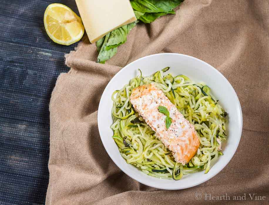 Lemon Parmesan zoodles with salmon.