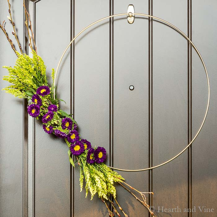 Close up of modern spring wreath