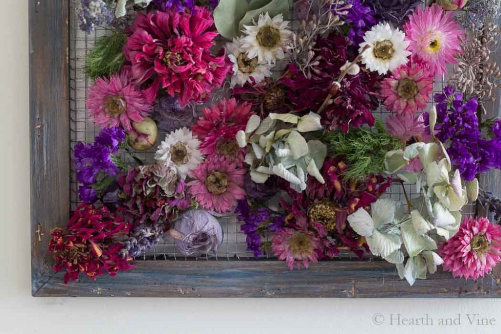 Dried flower framed wall hanging