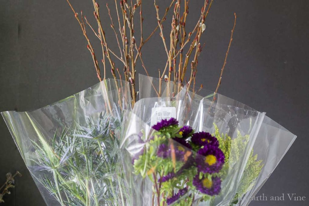 Purchased flowers in bags