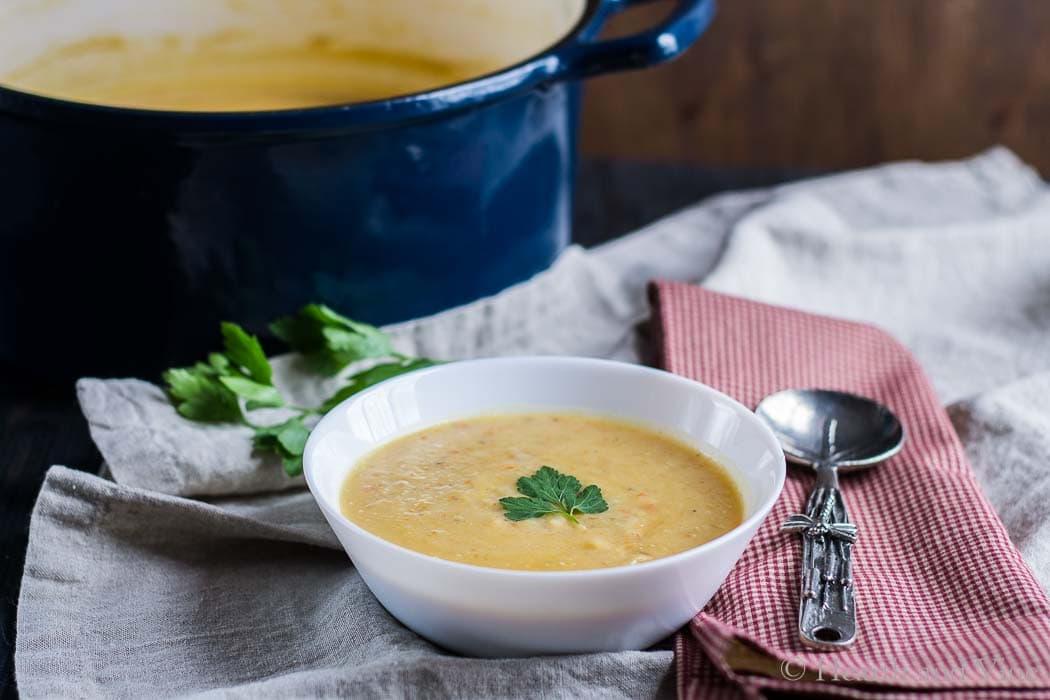 Potato soup bowl and spoon.