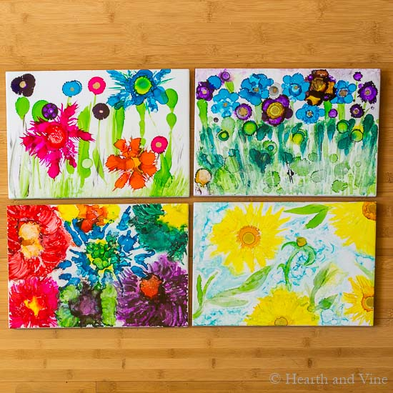 Alcohol ink trivets - gallery of four.