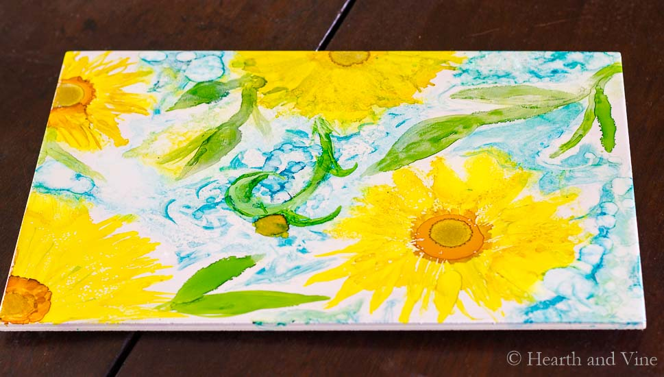 Alcohol ink trivet with sunflowers