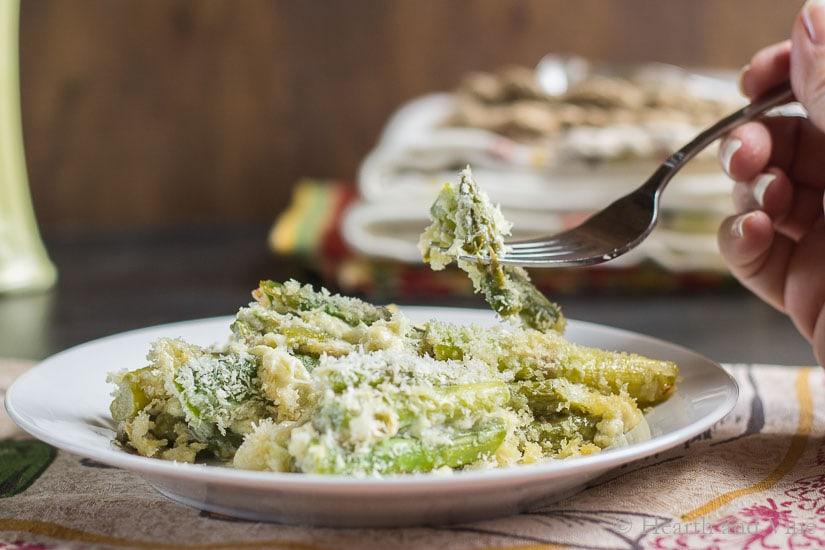Asparagus casserole on a plate.