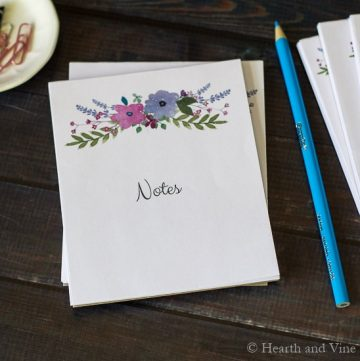 DIY notepads stack on table