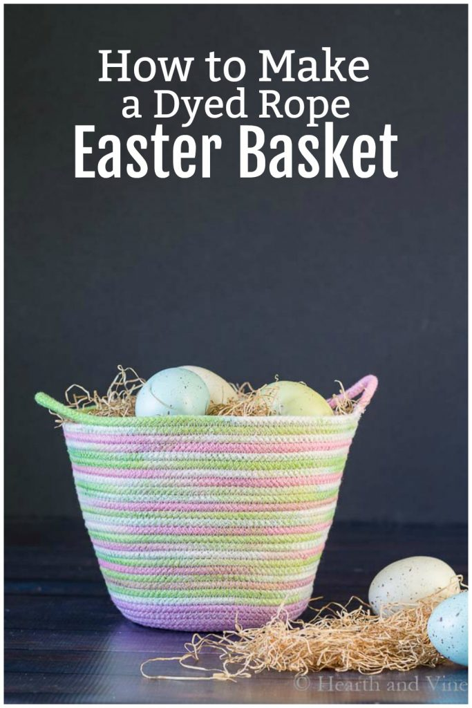 Rope Easter basket with eggs