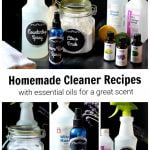 Bottles of homemade cleaners including a countertop spray, room spray and scrub with essential oils and rubbing alcohol